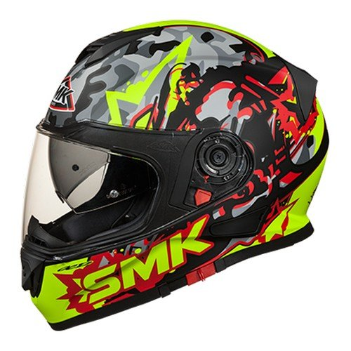 SMK MA243 Twister Attack Graphics Pinlock Fitted Full Face Helmet With Clear Visor (Matt Black, Fluorescent Yellow and Red, XL)