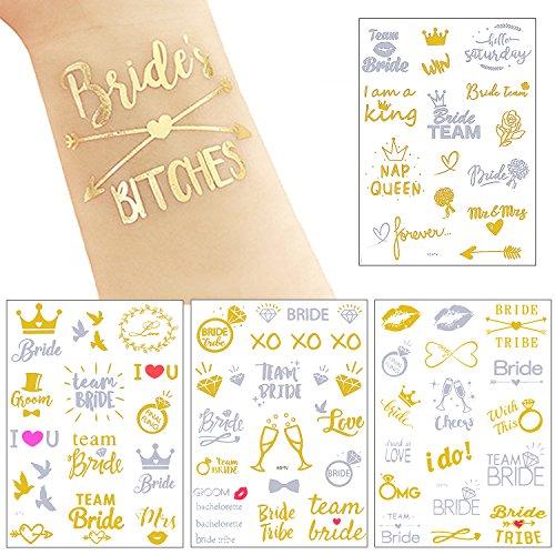 unggesellinnenabschied Tattoos Team Braut Tattoos Wasserdicht Temporäre Klebetattoos für Hochzeit,Junggesellinnenabschied Accessoires,Gold und Silber ()