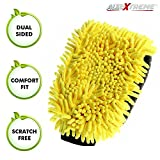 #9: AllExtreme Double-Sided Microfiber Car Washing Mitt Dusting Cleaning Glove Scratch-Less and Lint-Free Reusable Duster for Wet Or Dry Applications (Yellow and Grey) (Set of 1)