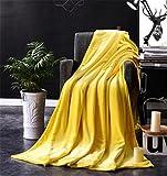 Coral-Fleece Tagesdecke Grau❄ZEZKT-Home❄Stilvolle Decke Kuscheldecke Super Weich & Warm 50*70cm (Gelb)