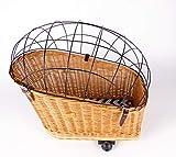 Weidenprofi Fahrrad-Tierkorb, Fahrradkorb Transportbox für den Gepäckträger, aus Weide mit Gitter, ca. 34 x 21-50 cm x 46/56 cm hoch