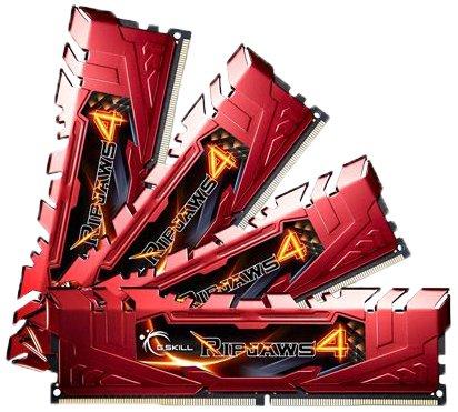 G Skill Ripjaws 4 F4-2400C15Q-32GRR 32GB Kit DDR4-2400 MHz Unbuffered Non-ECC Memory Modules with Heatspreader - Red