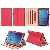 ISIN Tablet Fall Serie Premium PU-Leder Schutzhülle für Samsung Galaxy Tab A 10.1 Zoll SM-T580 T585 FHD WIFI 4G LTE Android Tablet PC (Mehrere View Engel, Rot)