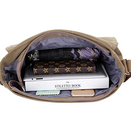 Super moderno vintage da uomo, borsa di tela a tracolla messenger a tracolla lavoro/giorno di borsa per Traval Business scuola uso quotidiano, Uomo, Blue Black