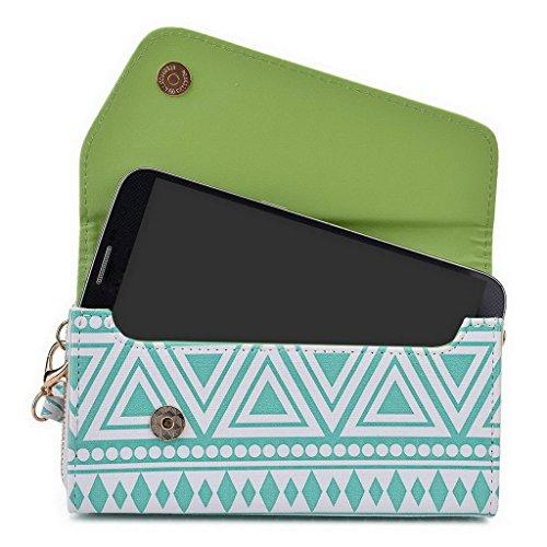 Kroo Tribal Style urbain pour téléphone portable Walllet embrayage pour Asus Zenfone Zoom multicolore blanc/noir White with Mint Blue