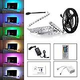 Simfonio Tiras LED Iluminación 5m 150leds 5050 SMD RGB Multicolor Kit Completo con Control remoto de 44 botones y fuente de alimentación 12V 2A para l