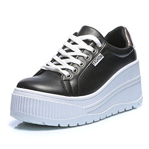 Mforshop scarpe donna ginnastica sneakers sportive casual platform zeppa alta moda hy1802 - nero, 36