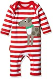 Toby Tiger Unisex Baby Spieler 100% Organic Cotton Dog and Ball Applique Sleepsuit, Rot - Rot, 6-12 Monate (68/80 cm)