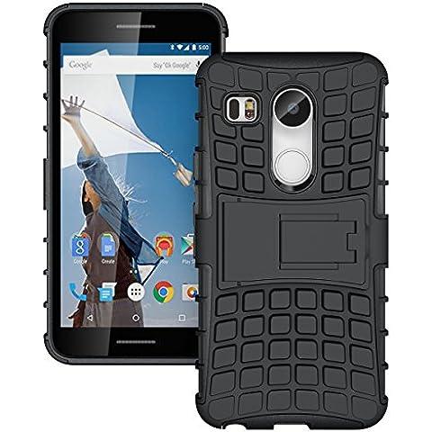 Nexus 5X Funda, JKase DIABLO Serie Tough Resistente Dual Protección de la Capa Funda Carcasas con Pata de Cabra para Nexus 5X (Negro)