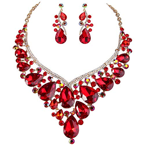 Ever Faith Damen Strass Kristall Teardrop Statement Cluster Halskette Ohrringe Set Rotgold-Ton
