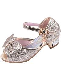 cf6f8804685c Yy.f YYF Fille Sandale Princesse Chaussures a Talon Reine de Neige Belle  avec Pailliettes