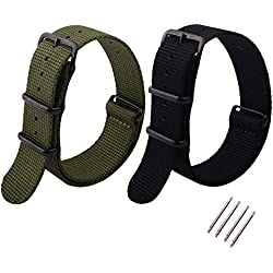 Ritche 2 Piece Replacement Nato Nylon Watch Band Straps,Army Green and Black