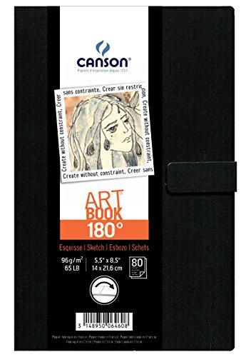 Canson Art Book 180° - Cuaderno de dibujo, 14 x 21.6 cm, color negro