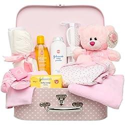 Ensemble Cadeau Pour Nouveau-Née - Boîte À Souvenirs En Rose Avec Peluche, Vêtements Pour Bébé Et Cadeaux Pour Un Nouveau-Née