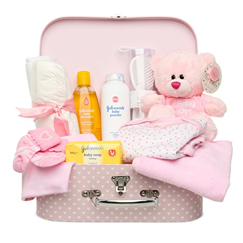 Newborn Baby Gift Set – Keepsake Box in Pink with Baby Clothes, Teddy Bear and Gifts for a Baby Girl