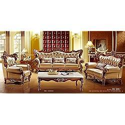 Ma Xiaoying piel auténtica colección 3pc Set: (silla, Loveseat y sofá) luz marrón por Ma Xiaoying