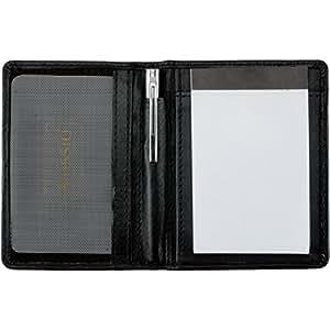 Alassio étui Monza Carnet Bloc-notes en cuir véritable noir, 7,5cm x 11cm, poche filet pour cartes de visite, bloc-notes, stylo bille