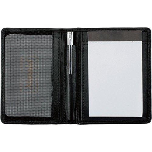 Alassio Notizblock-Etui MONZA Notizbuch aus echt Leder schwarz, 7,5 cm x 11 cm, Netzfach für Visitenkarten, Notizblock, Kugelschreiber