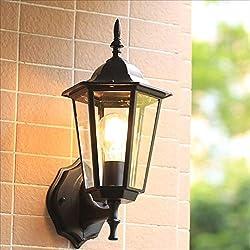 ACZZ Lampe de mur extérieur en verre imperméable à la pluie de la lampe de mur de jardin de métal antique imperméable à l'eau Led E27 en aluminium applique murale balcon balcon allée éclairage extéri