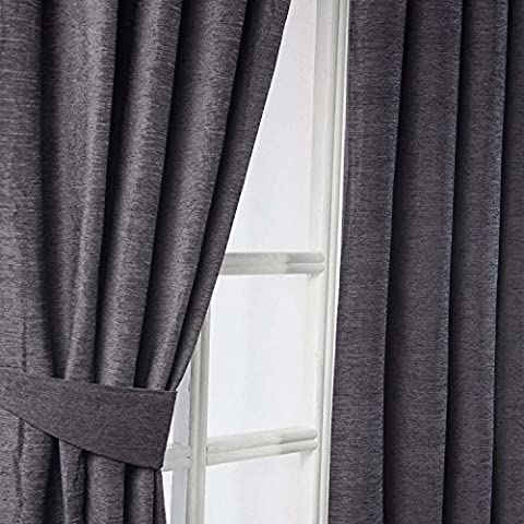 Homescapes Pewter Grey Luxury Chenille Pencil Pleat Lined Curtains Pair Width 65 x 54 Inch Drop. Heavy Weight Thermal Block Out Property. FREE SWATCHES