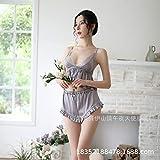 Tianyifeng Sexy Dessous High-End sexy Uniform Versuchung Magd Anzug Damen Sommer Zweiteilige Eispyjamas grau one Size