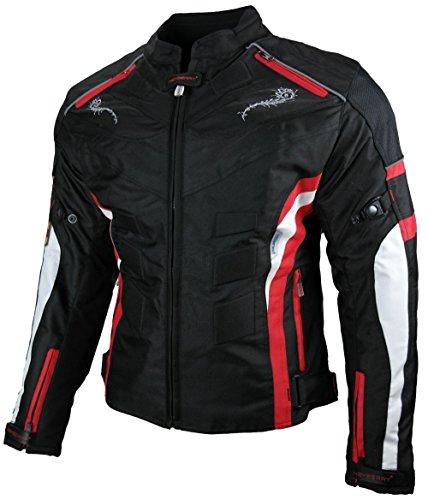 *Heyberry Damen Motorrad Jacke Motorradjacke Textil Schwarz Rot Gr. L / 40*