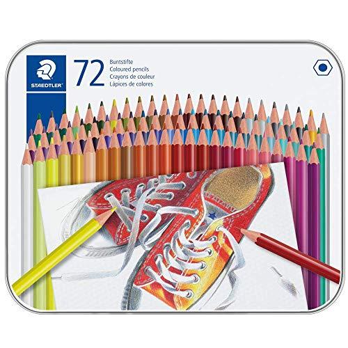 Staedtler 175 M72ST Crayons De Couleur Hexagonaux Sans Bois, Corps En Matière Plastique Facile À Tailler, Boîte En Métal Avec 72 Crayons Assortis