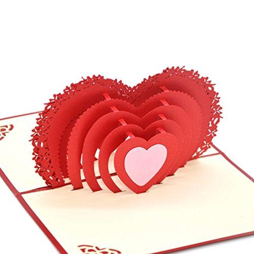 Medigy 3d pop up biglietto d' auguri per san valentino, amanti della coppia, matrimonio, dating, ann