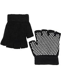 VocoGants femme 1 paire de femmes Mesdames élastique respirante Yoga Pilates exercice Sport anti-dérapant Fingerless gants avec picots Silicone blanc