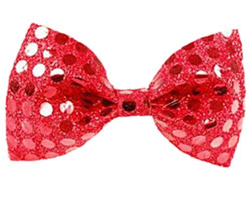 Faschingsfete Erwachsene Karnevalszubehör Pailletten Krawatten Schleife, Größe 11cm x 6cm, keine, Rot
