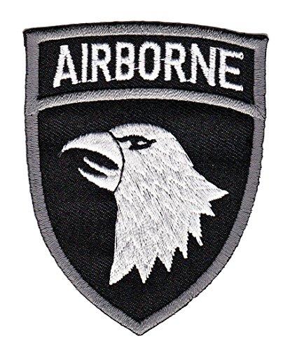 Airborne Adler Schwarz Aufnäher Army Bügelbild Patch Applikation Größe 6,5 x 8,2 cm