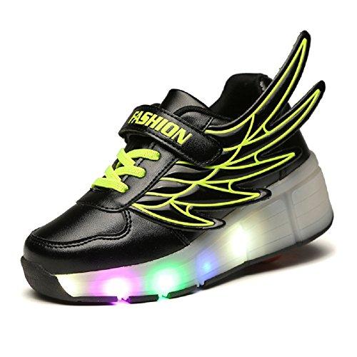 Star Power-UK Kinder Junge Mädchen 7 Farbe Farbwechsel Lichter blinken Led Schuhe Mit Rollen Skateboard Rollschuhe Sport Outdoorschuhe Gymnastikschuhe Flügel-Art Sneaker (31 EU, Schwarz-2) (2 Skateboard-schuh)
