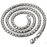 4.7MM Breit 56 CM Lang Edelstahl Flach Weizen-Kette Herren-Halskette Hip Hop Collier Silber Farbe mit Karabinerverschluss