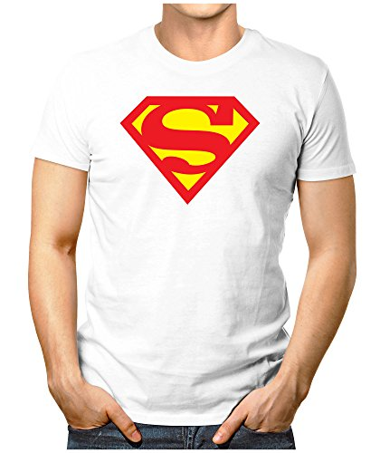 PRILANO Herren Fun T-Shirt - SUPERMAN - M - Weiß (Shirt Superman Weiß)