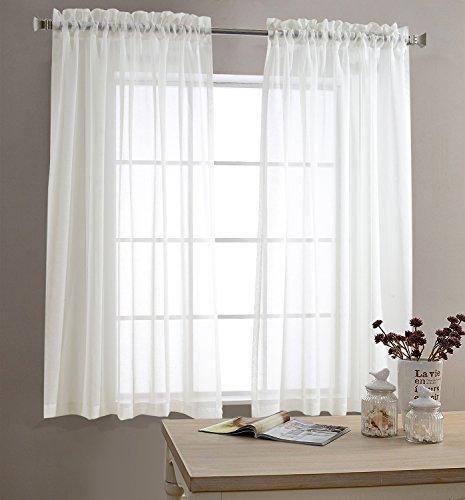 TOPICK Voile Vorhang mit Stangendurchzug transparent Gardine 2 Stücke Gaze paarig Fensterschal Vorhänge 145 cm x 140 cm (H x B),2er-Set,Weiß