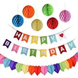 Kuuqa Bannière de décoration de joyeux anniversaire avec 6 sacs en nid d'abeilles et One Rainbow Paper Garland, Party Supplies