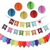 Kuuqa Feliz cumpleaños decoraciones Banner con 6 Pack Honeycomb