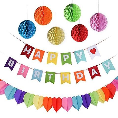 Kuuqa Happy Birthday Dekorationen Banner mit 6 Pack Waben Bälle und ein Regenbogen Papier Girlande, Party Supplies