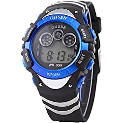 AMPM24 OHSEN Mens Blue Date Alarm 7 Modes Backlights Multifunction Sport Rubber Watch
