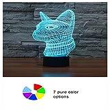 Yingqi Chat mignon 3D nuit lumière électronique illusion 3d lumière LED 7 couleurs USB touch lampe de table cadeau pour enfants-Avatar de chat...