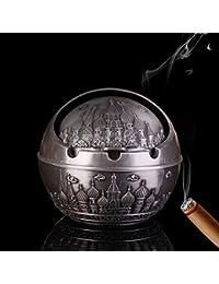 YJY^MAX Cenicero de Cigarrillos o Puros, Tormenta de cenicero Ashtray Decorativo para el exterior y el interior , Sin malos olores. Fácil de lavar Plata