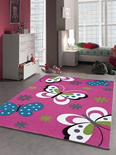 Alfombra infantil Juego Alfombra juvenil habitaciones mariposa color rosa fucsia, rosa, 80 x 150 cm