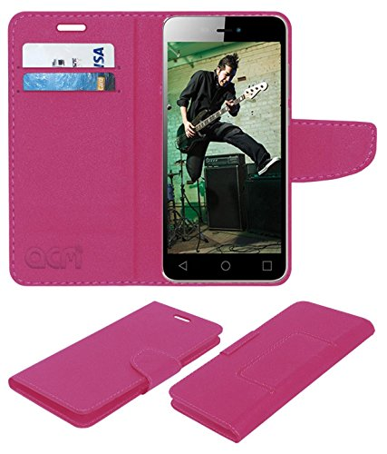 ACM Mobile Leather Flip Flap Wallet Case for Micromax Canvas Spark 3 Q385 Mobile Cover Pink