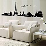 qhtqtt Wandaufkleber Romantische Paris Stadt Silhouette PVC