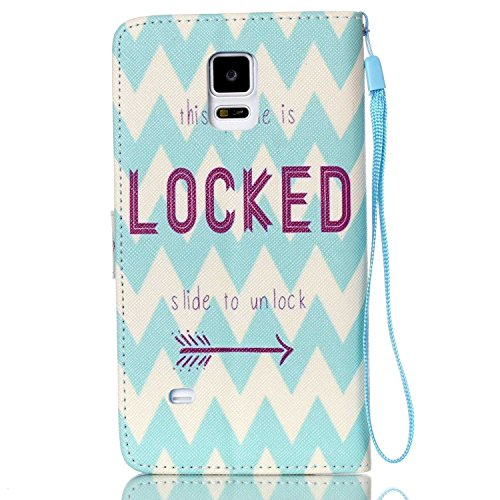 Copertura per Samsung Galaxy Note 4 in pelle, Samsung Galaxy Note 4 Custodia Portafoglio, Note 4 Case Cover, Ukayfe blue Wave-this iphone is locked Design dellunità di elaborazione di vibrazione del  blue Wave-this iphone is locked