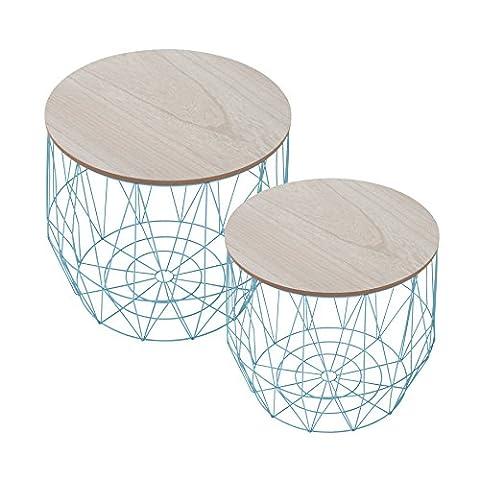 2er Set Moderner Couchtisch Beistelltisch STORAGE blau Aufbewahrungsfach mit Eiche Ablage Aufbewahrungskorb mit Holzdeckel Deckel Korb Aufbewahrung Tische