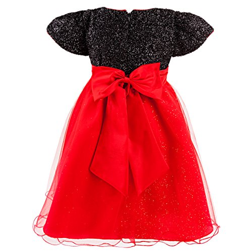 Imagen de katara purpurina fijo de vestido para niña con tul de rock y lazo, tuetue largo hasta la rodilla, vestido de verano, negro/rojo alternativa
