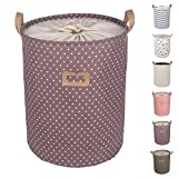 DOKEHOM DKA0811PE 17.7' Large Laundry Basket (Available 17.7' and 19.7'), Foldable Drawstring Waterproof Round Cotton Linen Collapsible Storage Basket (Purple, M)