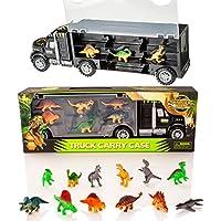 Dinosaur Transporter Truck & 12 Toy Dinosaurs Figures Playset - Jurassic Dino World Set