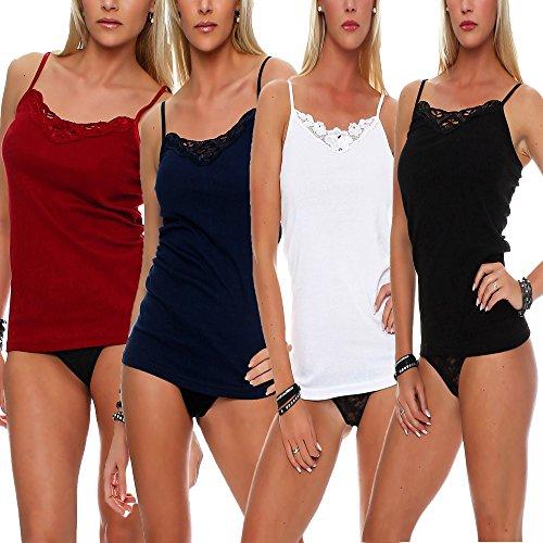 4er Pack Frauen Damen Unterhemden mit Spitze Farbig Spaghettiträger Tank Top Baumwolle von SGS Model 1 Spaghettiträger